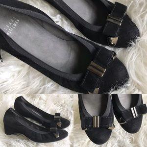 Stuart Weitzman black suede bow wedge heels